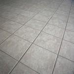 Light tile floor with dark grout lines