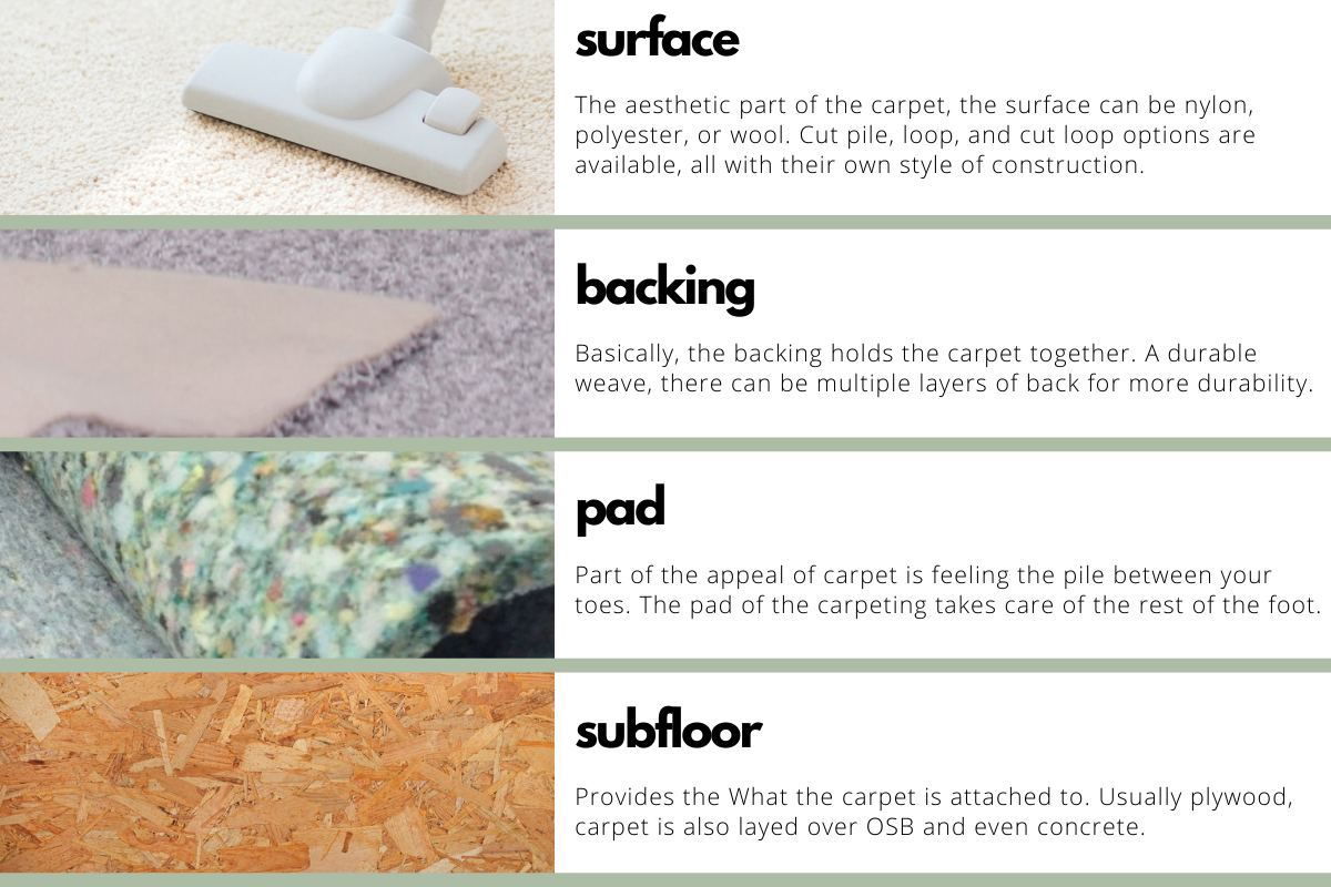 Infographic listing the four layers of your carpet | Heaven's Best