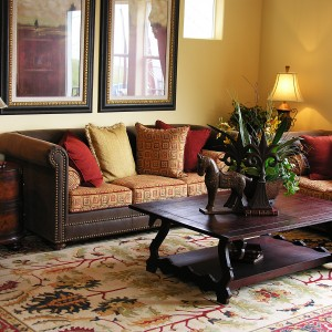 living room with clean carpet